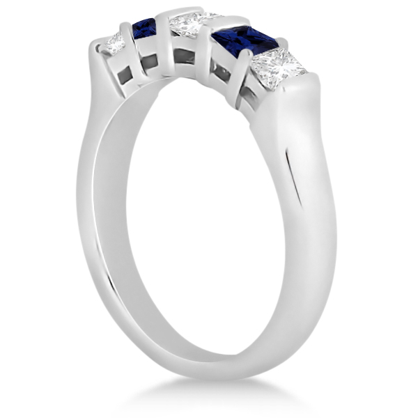 5 Stone Diamond & Blue Sapphire Princess Ring Platinum 0.56ct
