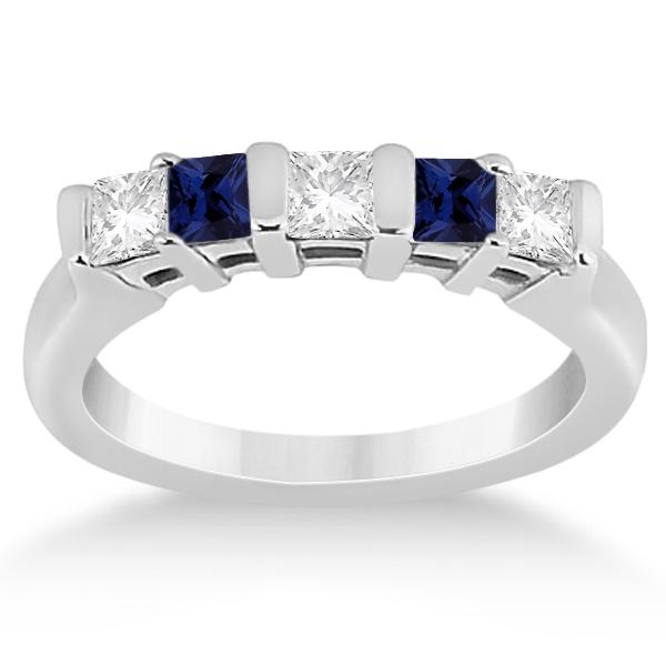 5 Stone Diamond & Blue Sapphire Princess Ring Platinum 0.56ct