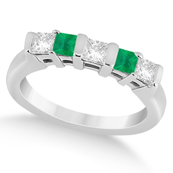 5 Stone Diamond & Green Emerald Princess Ring 14K White Gold 0.56ct