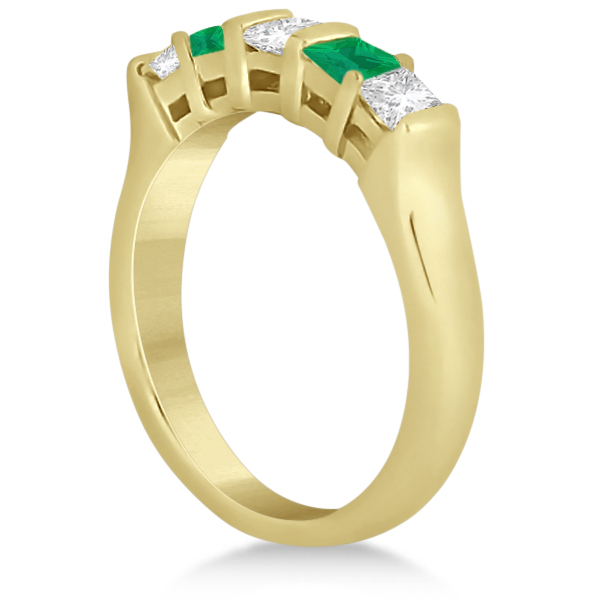 5 Stone Diamond & Green Emerald Princess Ring 14K Yellow Gold 0.56ct