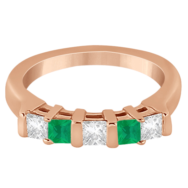 5 Stone Diamond & Green Emerald Princess Ring 18K Rose Gold 0.56ct