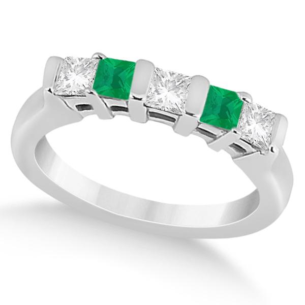 5 Stone Diamond & Green Emerald Princess Ring 18K White Gold 0.56ct