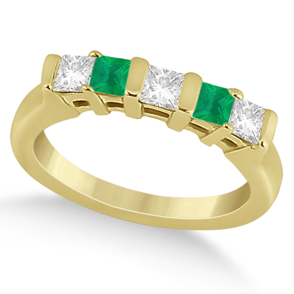 5 Stone Diamond & Green Emerald Princess Ring 18K Yellow Gold 0.56ct