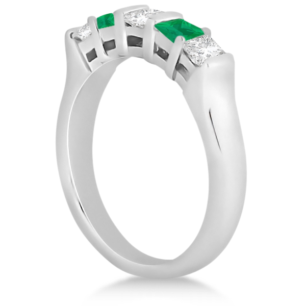 5 Stone Diamond & Green Emerald Princess Ring Palladium 0.56ct