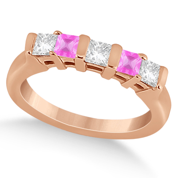 5 Stone Diamond & Pink Sapphire Princess Ring 14K Rose Gold 0.56ct