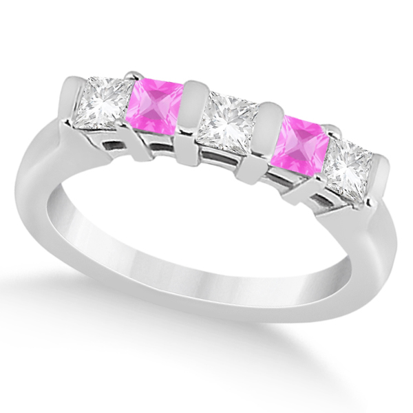 5 Stone Diamond & Pink Sapphire Princess Ring Palladium 0.56ct