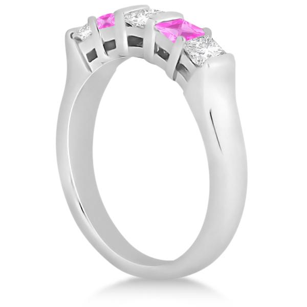 5 Stone Diamond & Pink Sapphire Princess Ring Palladium 0.56ct
