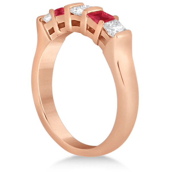 5 Stone Princess Diamond & Ruby Wedding Band 14K Rose Gold 0.56ct