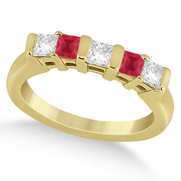 5 Stone Princess Diamond & Ruby Wedding Band 18K Yellow Gold 0.56ct