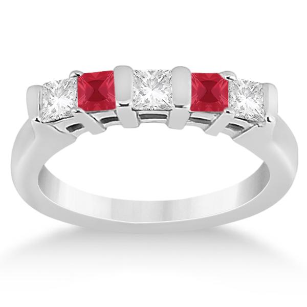 5 Stone Princess Cut  Diamond & Ruby Wedding Band Palladium 0.56ct