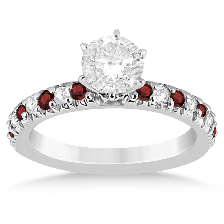 garnet diamond engagement ring setting 14k white gold 0. Black Bedroom Furniture Sets. Home Design Ideas