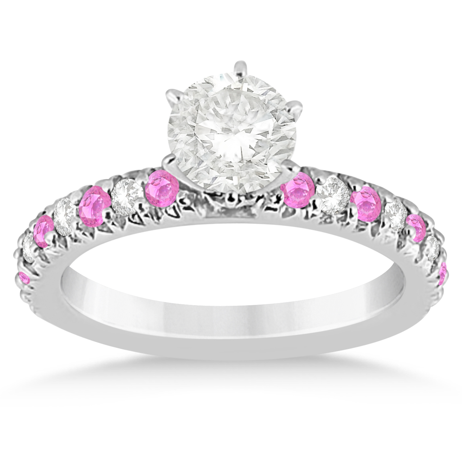 pink sapphire diamond engagement ring setting 14k white. Black Bedroom Furniture Sets. Home Design Ideas