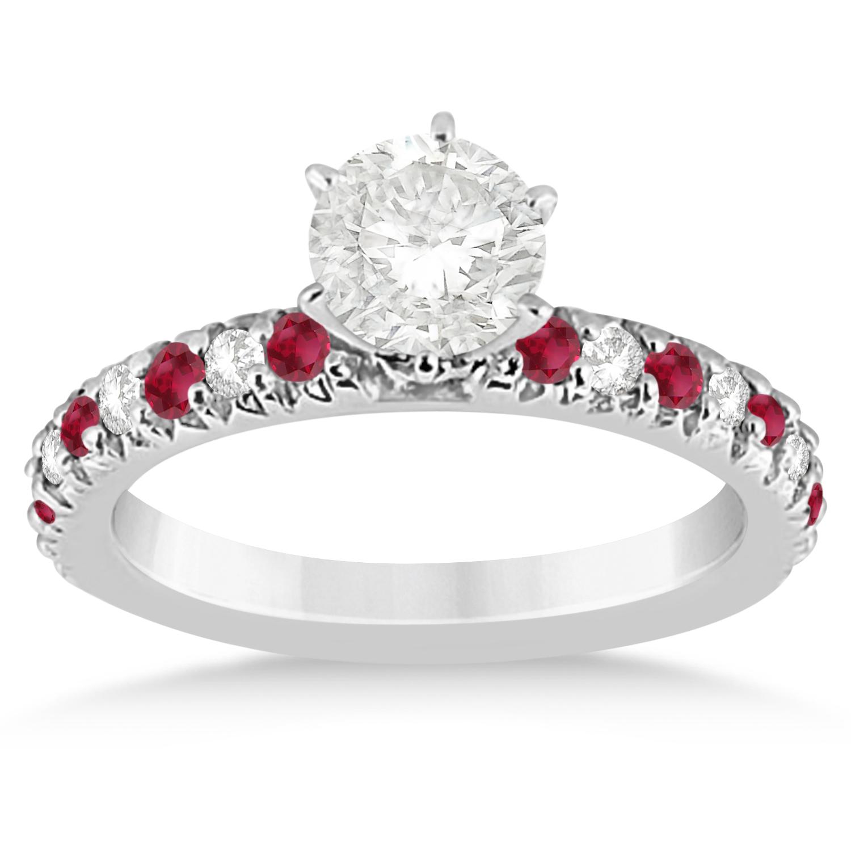 ruby engagement ring setting 14k white gold 0