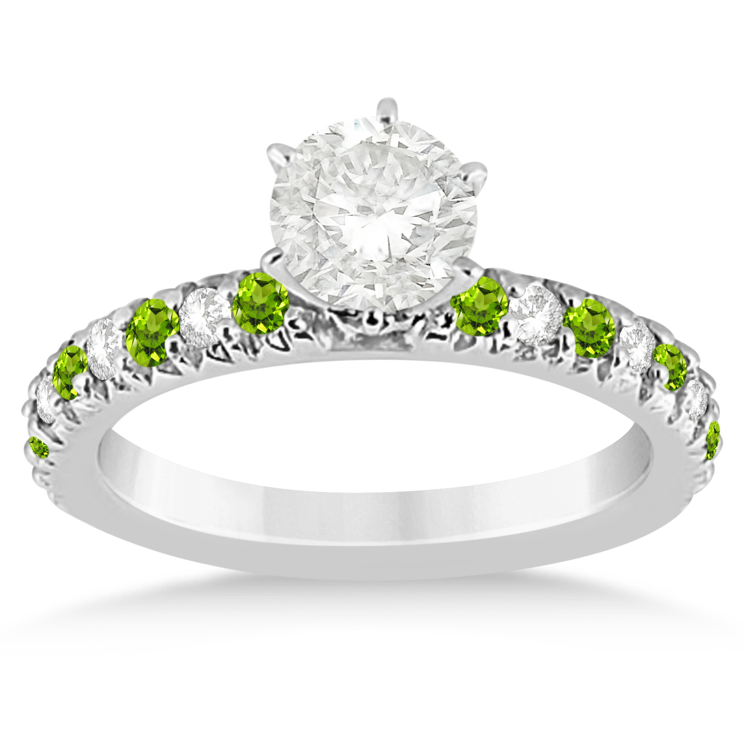 Peridot diamond bridal set setting palladium 114ct for Peridot wedding ring set