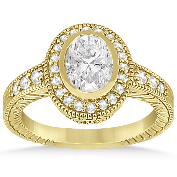 Vintage Style Engagement Ring Setting w/ Diamonds 14K Y. Gold 0.36ct