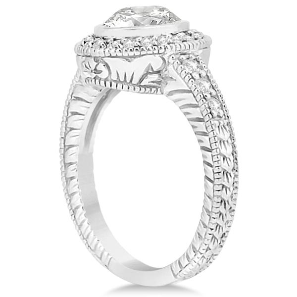 Vintage Style Engagement Ring Setting w/ Diamonds Platinum 0.36ct