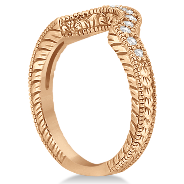 Vintage Style Contour Diamond Wedding Band in 18K Rose Gold 0.28ct