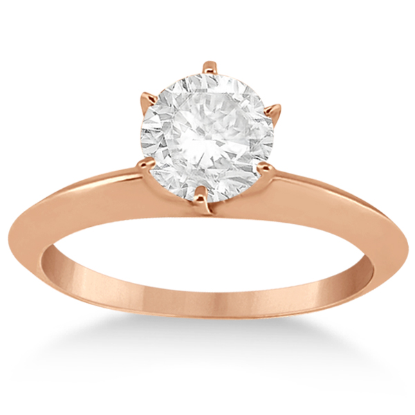 Knife Edge Six-Prong Solitaire Engagement Ring Setting 14k Rose Gold