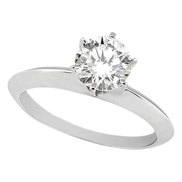 Knife Edge Six-Prong Solitaire Engagement Ring Setting 14k White Gold