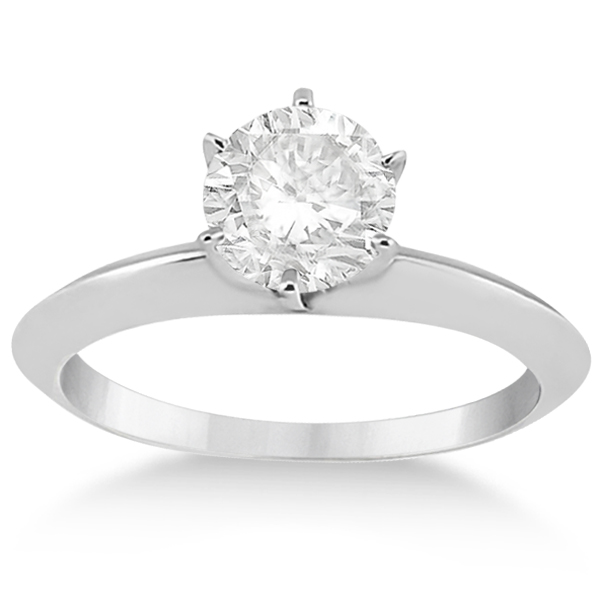 Knife Edge Six-Prong Solitaire Engagement Ring Setting Platinum