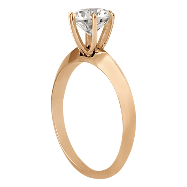 Six-Prong Knife Edge Solitaire Engagment Ring Set 14k Rose Gold