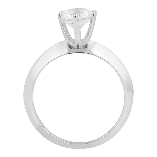 Six-Prong Knife Edge Solitaire Engagment Ring Set 14k White Gold