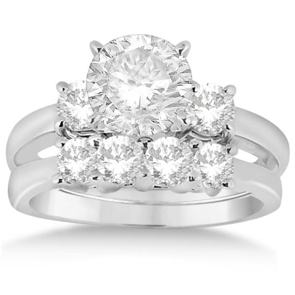 3 Stone Diamond Engagement Ring & Wedding Band Set 18K W. Gold (1.10ct)