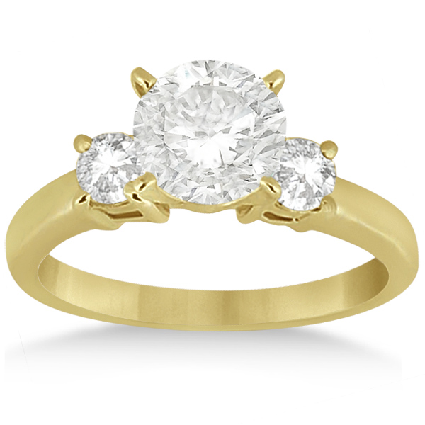 3 Stone Diamond Engagement Ring & Wedding Band Set 18K Yellow Gold (1.10ct)