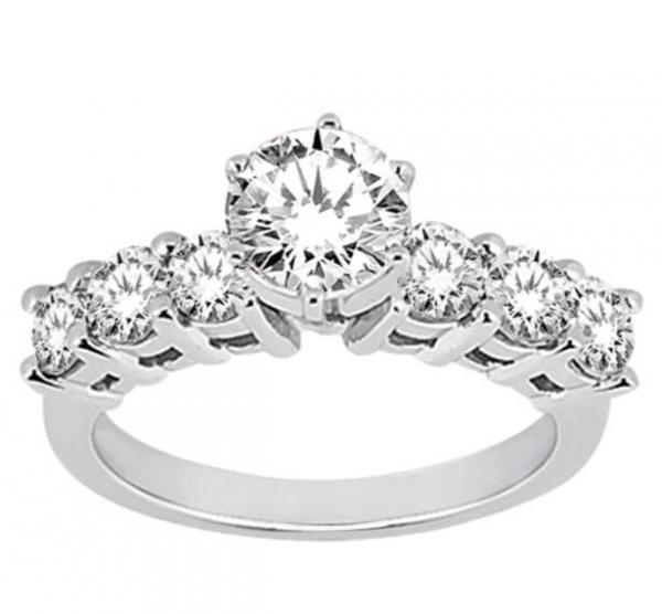 Seven-Stone Diamond Engagement Ring in 18k White Gold (0.30 ctw)