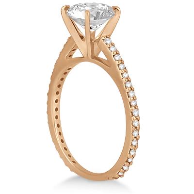 Petite Eternity Diamond Engagement Ring 18k Rose Gold (0.55ct)