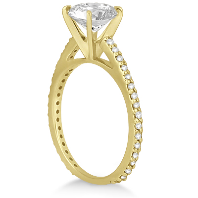 Eternity Diamond Engagement Ring & Band Set 14k Yellow Gold (1.10ct)