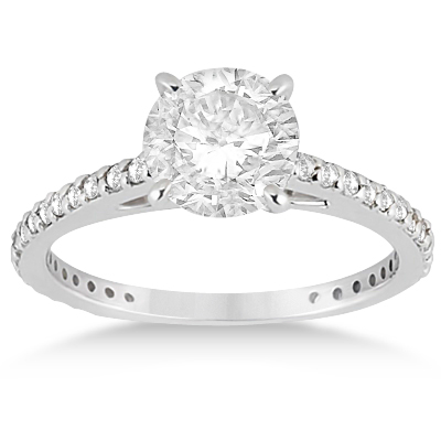 Eternity Diamond Engagement Ring & Band Set 18k White Gold (1.10ct)