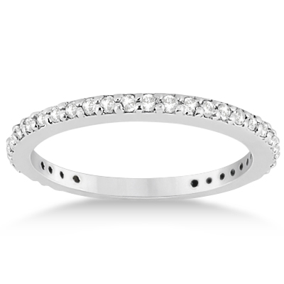 Pave Set Eternity Diamond Wedding Ring Band 14k White Gold (0.55ct)