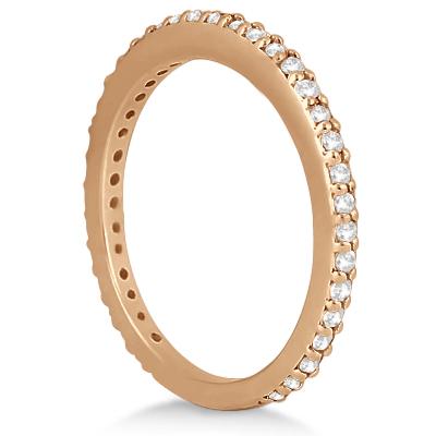 Pave Set Eternity Diamond Wedding Ring Band 18k Rose Gold (0.55ct)