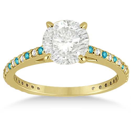 White & Blue Diamond Engagement Ring Pave Set 14K Yellow Gold 0.52ct