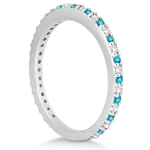 White & Blue Diamond Bridal Ring Set in 14K White Gold 1.06ct