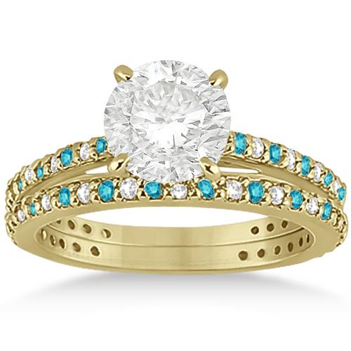 White & Blue Diamond Bridal Ring Set in 14K Yellow Gold 1.06ct