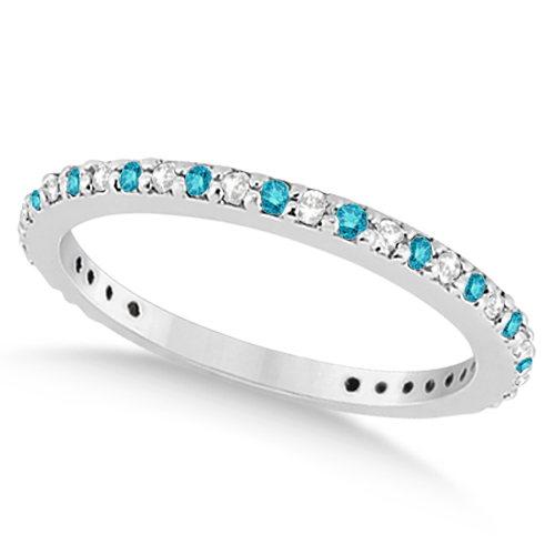 White & Blue Diamond Bridal Ring Set in Palladium 1.06ct