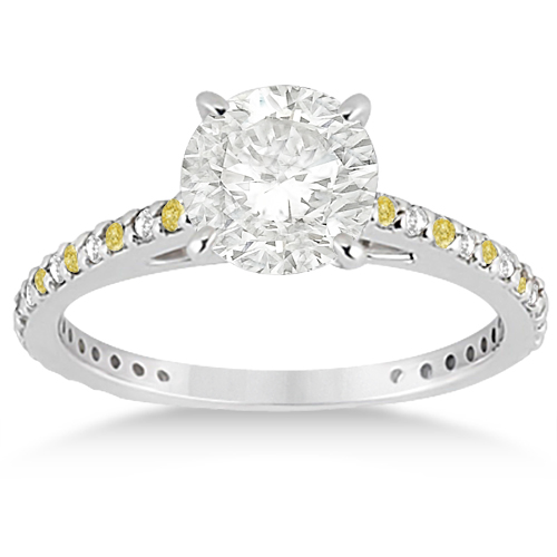 White & Yellow Diamond Engagement Ring Pave Set in Palladium 0.52ct