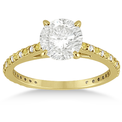 Bridal Ring Set with White & Yellow Diamonds in 14K Yellow Gold 1.06ct