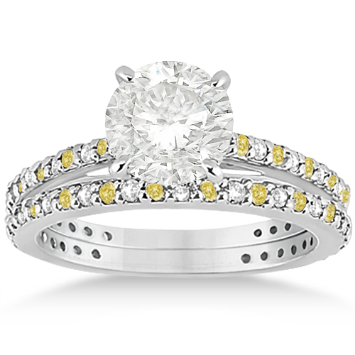 Bridal Ring Set with White & Yellow Diamonds in Palladium 1.06ct