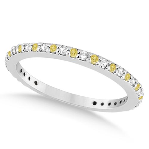 Eternity White & Yellow Diamond Wedding Band in 14K White Gold 0.54ct