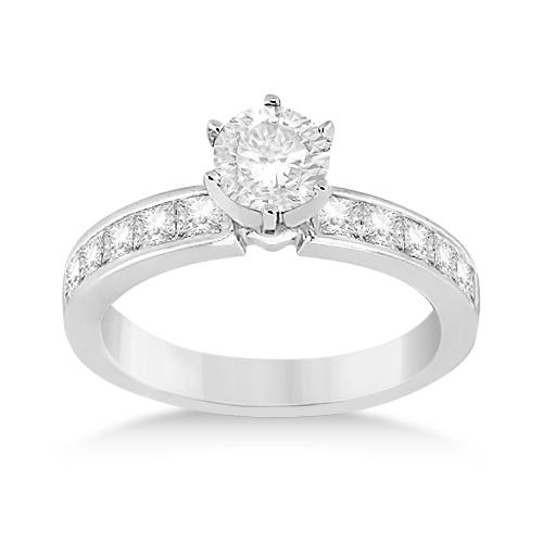 Channel Set Princess Diamond Engagement Ring 18k White Gold (0.50ct)