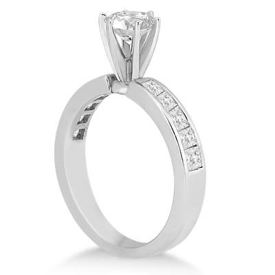 Channel Set Princess Cut Diamond Engagement Ring Platinum (0.50ct)