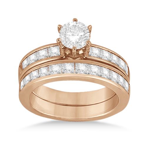 Princess Diamond Engagement Ring & Bridal Set 14k Rose Gold (1.10ct)