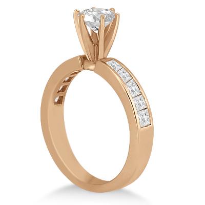 Princess Diamond Engagement Ring & Bridal Set 18k Rose Gold (1.10ct)
