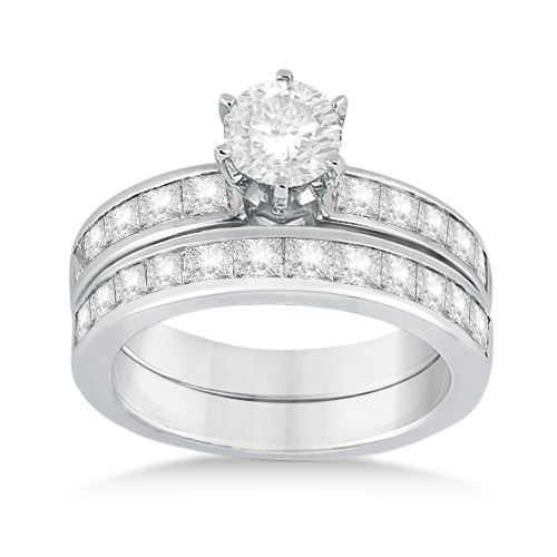 Princess Diamond Engagement Ring & Bridal Set 18k White Gold (1.10ct)