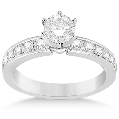 Princess Diamond Engagement Ring & Bridal Set Platinum (1.10ct)