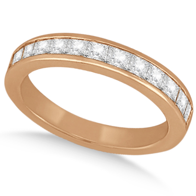 Channel Set Princess Diamond Wedding Band 18k Rose Gold (0.60ct)