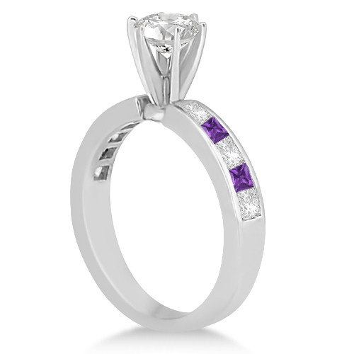 Channel Amethyst & Diamond Engagement Ring 18k White Gold (0.60ct)